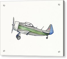 Vintage Green And Gray Airplane Acrylic Print