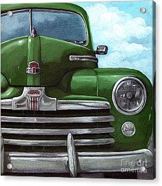 Vintage Green Ford Acrylic Print by Linda Apple
