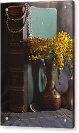 Vintage Group With An Old Book And Mimosa   Acrylic Print