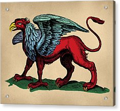 Vintage Griffin Tinted Woodcut Acrylic Print