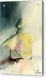 Vintage Guerlain Mitsouko Perfume Bottle Acrylic Print by Beverly Brown