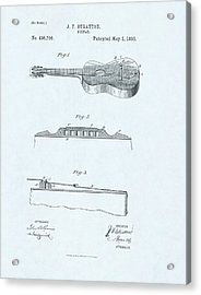 Guitar Patent Drawing On Blue Background Acrylic Print