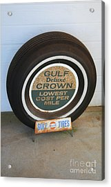 Acrylic Print featuring the photograph Vintage Gulf Tire With Ad Plate by Lesa Fine