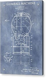 Vintage Gumball Machine Patent Acrylic Print by Dan Sproul