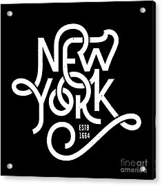 Vintage Hand Lettered Textured New York Acrylic Print