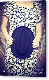 Vintage Hat Flower Dress Woman Acrylic Print