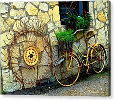 Antique Store Hay Rake And Bicycle Acrylic Print by ARTography by Pamela Smale Williams