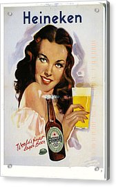Vintage Heineken Beer Ad Acrylic Print by Allen Beilschmidt