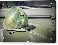 Vintage Helmet On Jeep Hood Acrylic Print by Bradley Clay