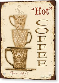 Vintage Hot Coffee Sign Acrylic Print by Jean Plout