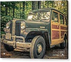 Vintage Jeep Station Wagon Acrylic Print by Edward Fielding