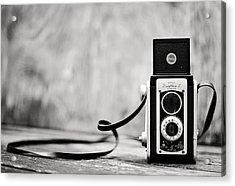 Vintage Kodak Duaflex II Camera Black And White Acrylic Print by Terry DeLuco