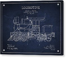 Vintage Locomotive Patent From 1892 Acrylic Print