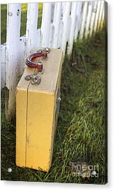 Vintage Luggage Left By A White Picket Fence Acrylic Print by Edward Fielding