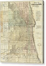 Vintage Map Of Chicago - 1857 Acrylic Print