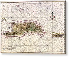 Vintage Map Of Nautical Routes Hispaniola Puerto Rico Acrylic Print