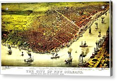 Vintage Map Of The City Of New Orleans Acrylic Print by Benjamin Yeager