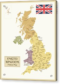 Vintage Map Of United Kingdom Acrylic Print by Pop jop