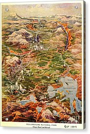Vintage Map Of Yellowstone National Park Acrylic Print
