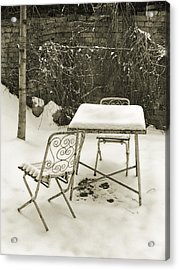 Vintage Metal Chairs Covered With Snow Acrylic Print