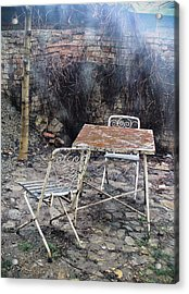 Vintage Metal Chairs In The Backyard Acrylic Print