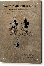 Vintage Mickey Mouse Patent Acrylic Print by Dan Sproul