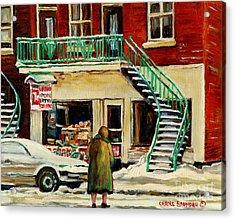 Vintage Montreal Art Verdun Depanneur Winter Scene Paintings Staircases And 7up Signs Carole Spandau Acrylic Print