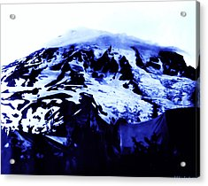 Acrylic Print featuring the photograph Vintage Mount Rainier At Twilight Early 1900 Era... by Eddie Eastwood