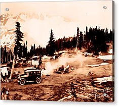 Vintage Mount Rainier Cars And Camp Grounds Early 1900 Era... Acrylic Print