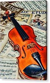 Vintage Music And Violin Acrylic Print by Paul Ward