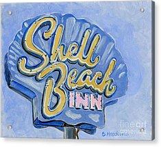 Vintage Neon- Shell Beach Inn Acrylic Print by Sheryl Heatherly Hawkins