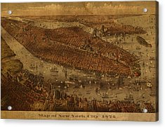 Vintage New York City Manhattan Nyc In 1875 City Map On Worn Canvas Acrylic Print by Design Turnpike