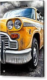 Vintage Nyc Taxi Acrylic Print by John Farnan