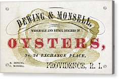Vintage Oyster Dealers Trade Card Acrylic Print