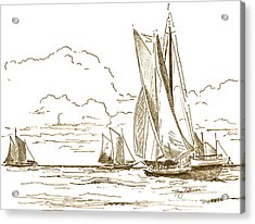 Vintage Oyster Schooners  Acrylic Print by Nancy Patterson