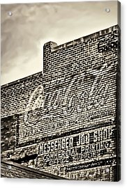 Vintage Painted Signage On Building Acrylic Print by Greg Jackson