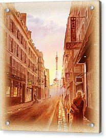Acrylic Print featuring the painting Vintage Paris Street Eiffel Tower View by Irina Sztukowski