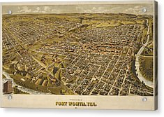 Vintage Perspective Map Forth Worth Texas Acrylic Print