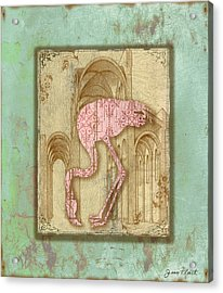 Vintage Pink Flamingo-1 Acrylic Print