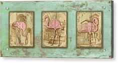 Vintage Pink Flamingo Trio-b Acrylic Print