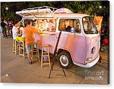 Vintage Pink Volkswagen Bus Acrylic Print by Luciano Mortula