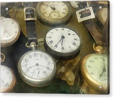 Vintage Pocket Watches Acrylic Print by Susan Savad