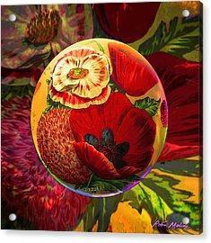 Vintage Poppy Sphere Acrylic Print by Robin Moline