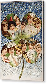 Vintage Postcard Of 1905 With A Lucky Clover Filled With Beautif Acrylic Print by Patricia Hofmeester