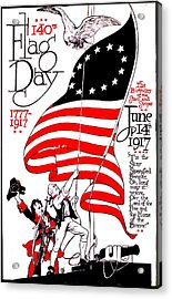 Vintage Poster - America - Flag Day 1917 Acrylic Print by Benjamin Yeager
