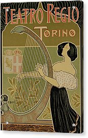 Vintage Poster Advertising The Theater Royal Turin Acrylic Print