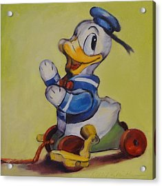 Vintage Pull Toy Series Duck Acrylic Print by Kelley Smith
