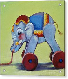 Vintage Pull Toy Series Elephant Acrylic Print by Kelley Smith