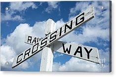 Vintage Railway Crossing Sign Acrylic Print
