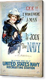 Vintage Recruiting Poster 1917 Acrylic Print by Padre Art